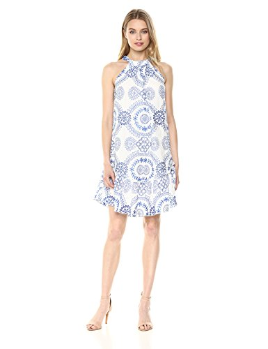 Trina Trina Turk Women's Kori Halter Drop Flounce Midi Dress