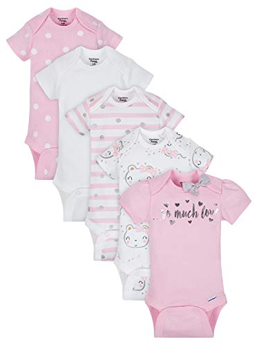 Gerber Baby Girls Onesies Bodysuits 5 Pack, Organic So Much Love