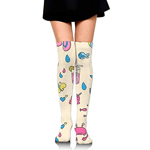 Kyliel Over the Knee Thigh High Socks,Lovely Summer Print