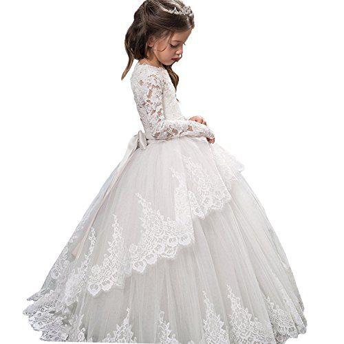 Vintage Princess Floral Lace 2017 Long Sleeves Flower Girls Dresses