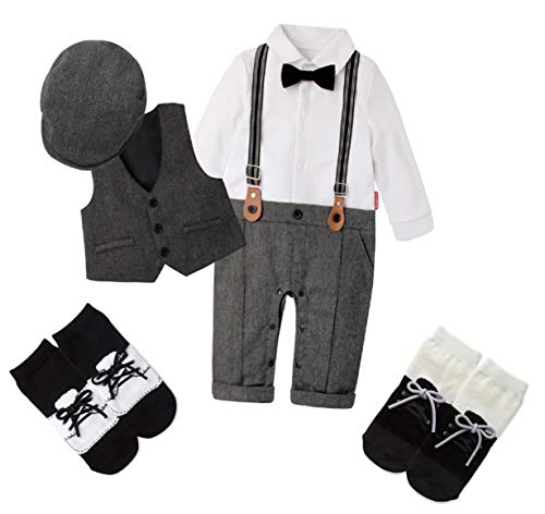 Baby Boys Little Gentleman Long Sleeve Bow Tie Romper Suit