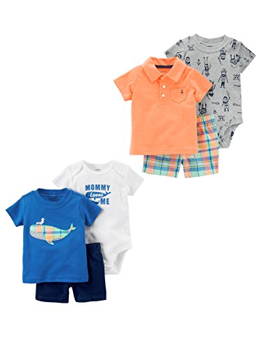 Carter's Baby Boys' 6-Piece Bodysuit Tee and Short Set