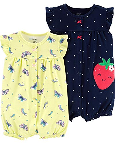 Carter's Baby Girls 2-Pack Romper, Strawberry/Butterfly