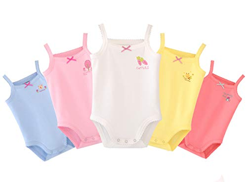 Infants Baby Girls Sleeveless Onseies Tank Top 100% Cotton Baby Bodysuit