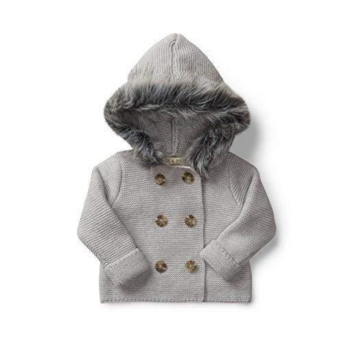 Hope & Henry Layette Grey Baby Sweater with Faux Fur Hood