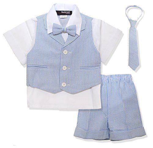 Gino Giovanni G286 Baby Toddler Boy Seersucker Summer Suit Vest