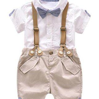 Kids Baby Boys Summer Gentleman Bowtie Short Sleeve Shirt
