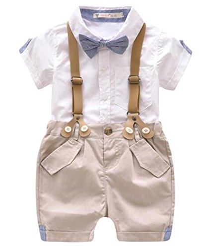 Kids Baby Boys Summer Gentleman Bowtie Short Sleeve Shirt
