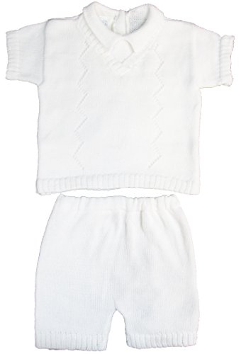 White Sweater Shorts Set 100% Cotton Baby Boy's