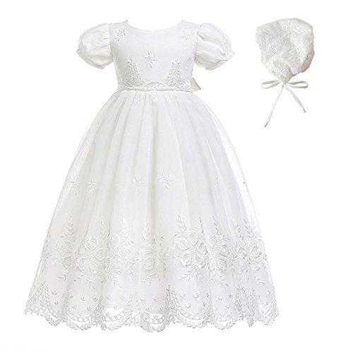 Glamulice Baby-Girls Newborn Satin Christening Baptism Floral Embroidered Dress
