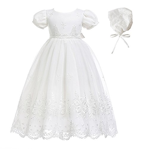 Glamulice Baby-Girls Newborn Satin Christening Baptism Floral Embroidered Dress