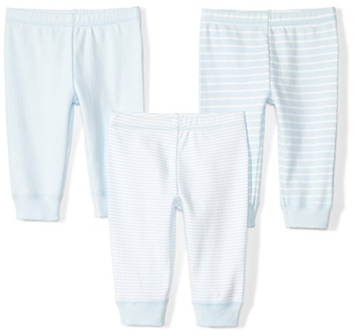 Moon and Back Baby Set of 3 Organic Pants, Blue Sky
