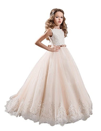 KissAngel Ivory Long Lace Flower Girl Dresses Champagne Less Party Dress
