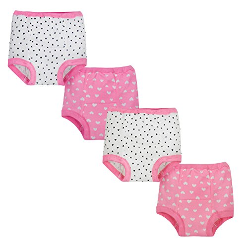 Gerber Baby Girls' 4 Pack Training Pants, Hearts, 18 Months
