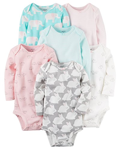Carter's Baby Girls' 6-Pack Long-Sleeve Original Bodysuits