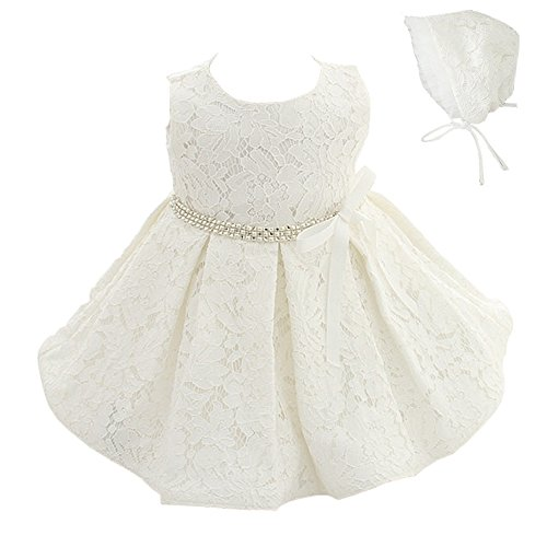 Meiqiduo Baby Girls 3Pcs Set Christening Baptism Wedding Formal Dress