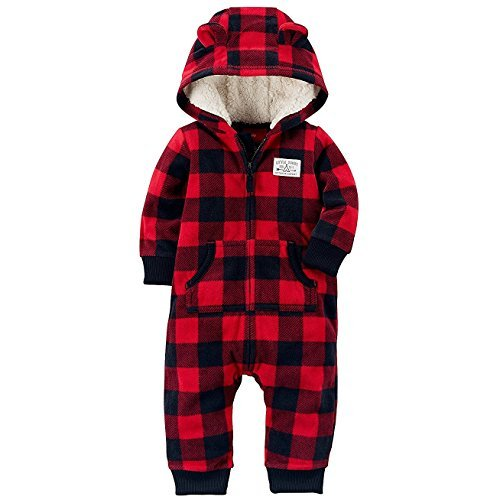 Carter's Baby Boys' One Piece Checker Print Fleece Jumpsuit