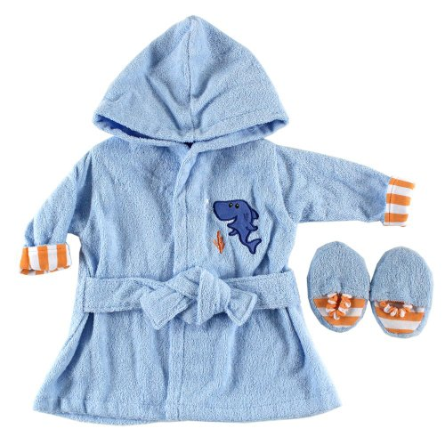 Luvable Friends Baby Color Bath Robe with Slippers Woven Terry