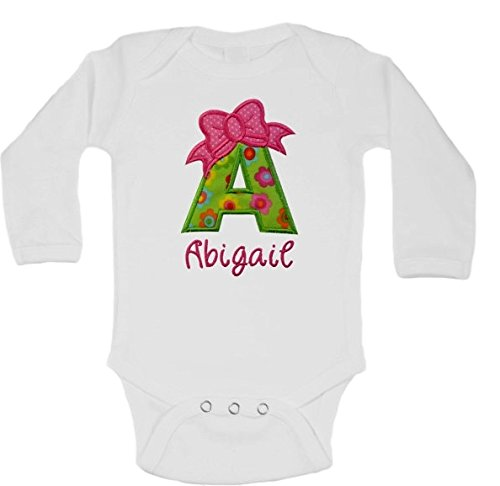 606eb7d5d Baby Girl Embroidered Initial Onesie Bodysuit and Matching Grosgrain Bow