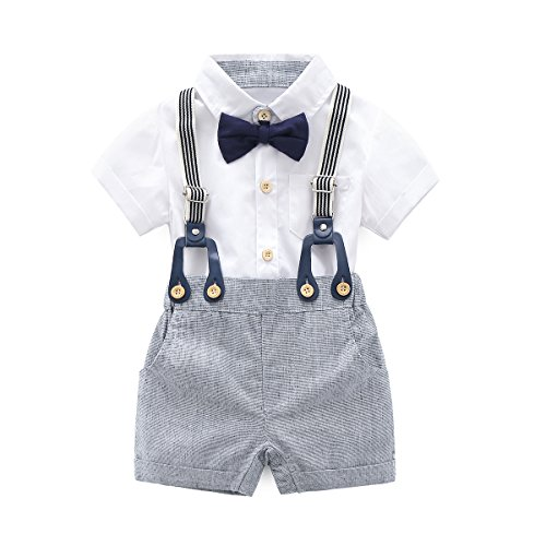 Baby Boys Gentleman Outfits Suits, Infant Short Sleeve Shirt+Bib Pants+Bow Tie