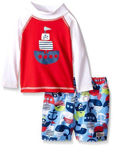 Flap Happy Boys' UPF 50+ Graphic Rash Guard and Infant Swim