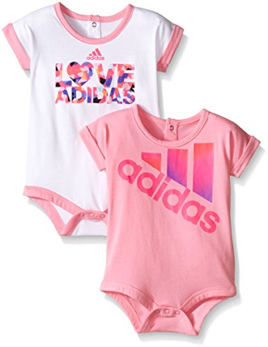 Adidas Baby Girls' 2 Pack Bodysuits, Assorted, 12 Months