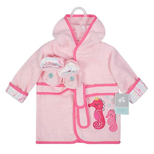 Baby Girl's 0-9 Months Pink Seahorse Robe and Booties Set