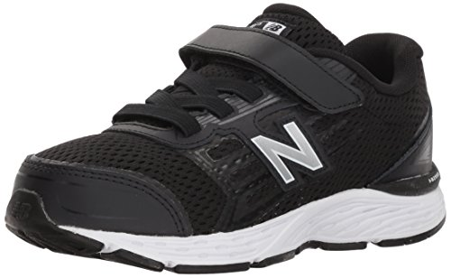 New Balance Boys' 680v5 Hook and Loop Running Shoe Black/White