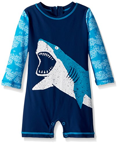 Hatley Baby Boys Mini One Piece Rash Guard, Shark Alley
