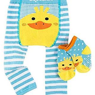ZOOCCHINI Baby Non-Skid Comfort Crawler Leggings & Socks Set