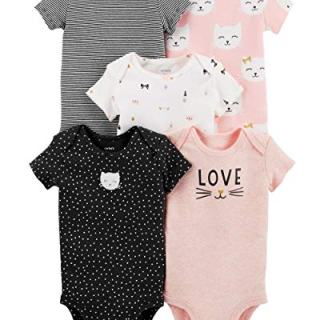 Carter's Baby Girls 5 Pack Bodysuit Set, Kitty Love, Newborn