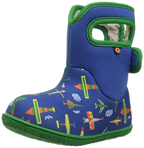 Bogs Baby Snow Boot, Planes Blue/Multi, 7 M US Toddler