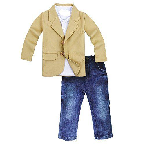 Toddler Baby Boys Gentleman 3 Pieces Shirt+Jacket+ Jeans