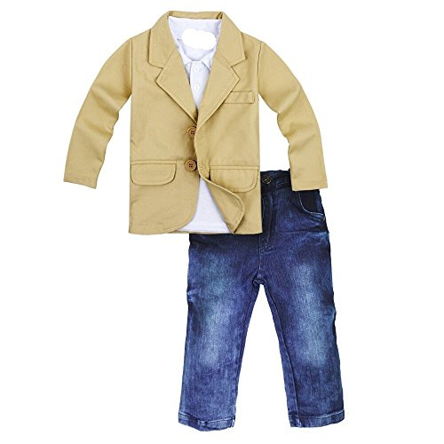 Toddler Baby Boys Gentleman 3 Pieces Shirt+Jacket+ Jeans
