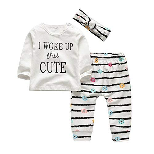 3Pcs Baby Girl Outfits Set I Woke Up This Cute Long Sleeve