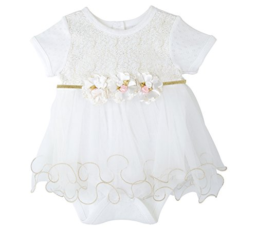 Taffy Baby Girl Newborn Gold Glitter Floral Short Sleeve Unique Tutu