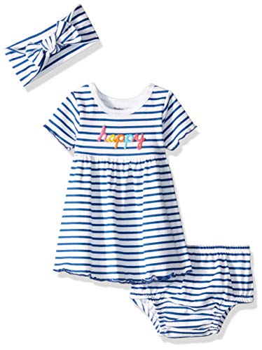 Gerber Baby Girls 3-Piece Dress, Diaper Cover and Headband Set