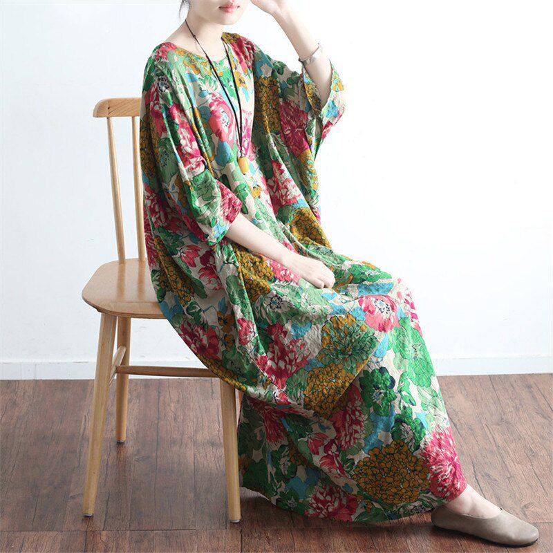 SCUWLINEN Vestidos Summer Dress Vintage Print