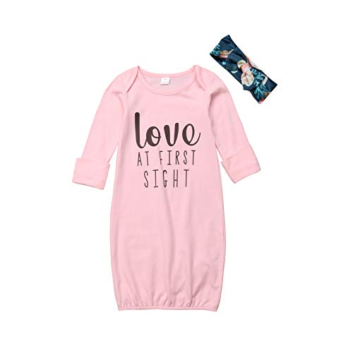 Infant Baby Girls Gowns Love at First Sight Print Sleepwear