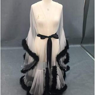 Sexy Feather Bridal Robe Tulle Illusion Long Wedding
