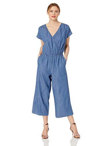 J.Crew Mercantile Women's Short-Sleeve Chambray Wrap Jumpsuit