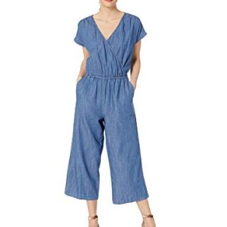 J.Crew Mercantile Women's Short-Sleeve Chambray Wrap Jumpsuit