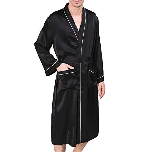 COLD POSH Men's 100% Silk Satin Robe Long Sleeve