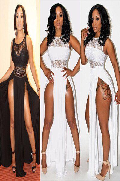 Two Side Split Lace Maxi Long Dress corset dresses long summer dresses
