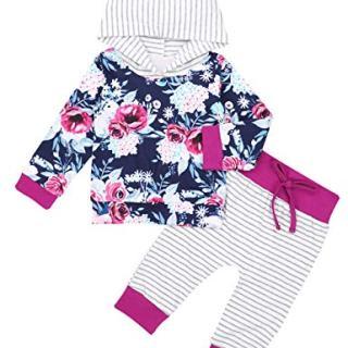 Newborn Baby Girl Clothes Long Sleeve Hoodie Floral Sweatshirt