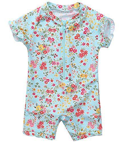 belamo Infant Girls Rash Guard Swimsuit Floral Sun Protective Shirt