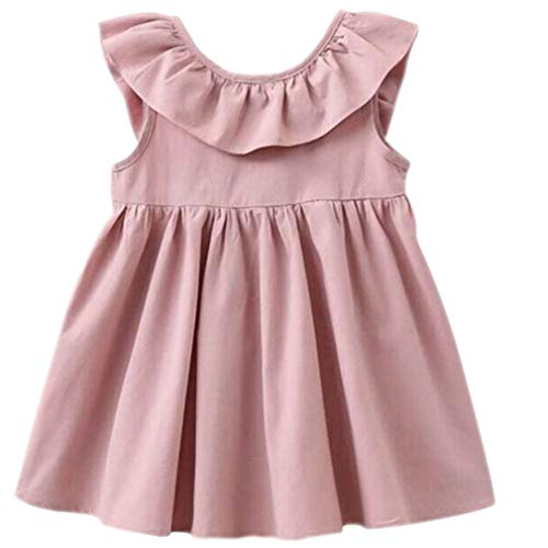 Niyage Toddler Baby Girls Cotton Tunic Dress Swing Casual Sundress Pink 90