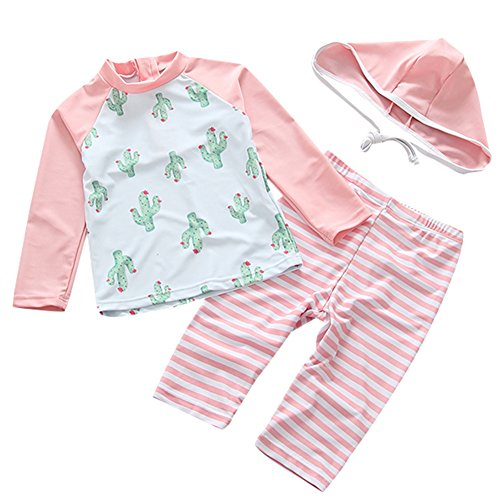 UV Sun Protective Baby Girls Swimsuit Long Sleeve Kids