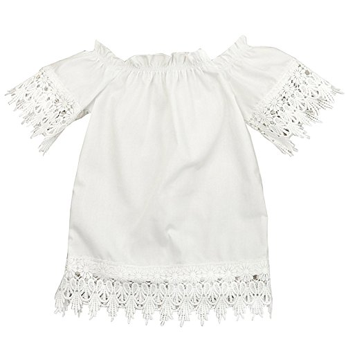 GRNSHTS Baby Girls White Off Shoulder Lace Dress