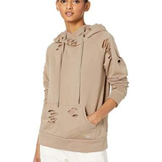 Alo Yoga Women's Ripped Hoodie, Gravel, M